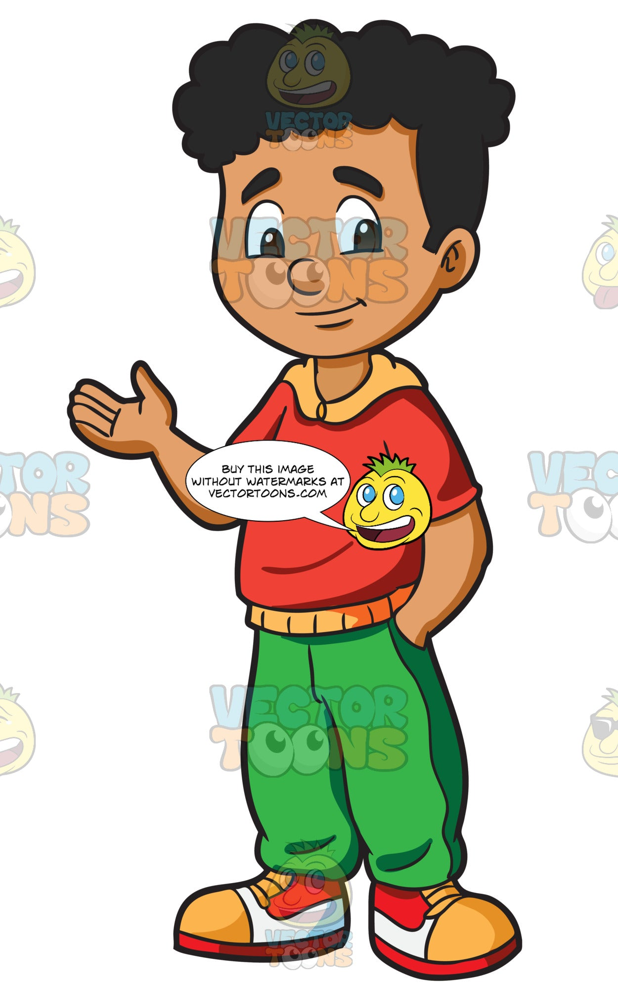 A Friendly Looking Male Middle School Student Clipart Cartoons By Vectortoons