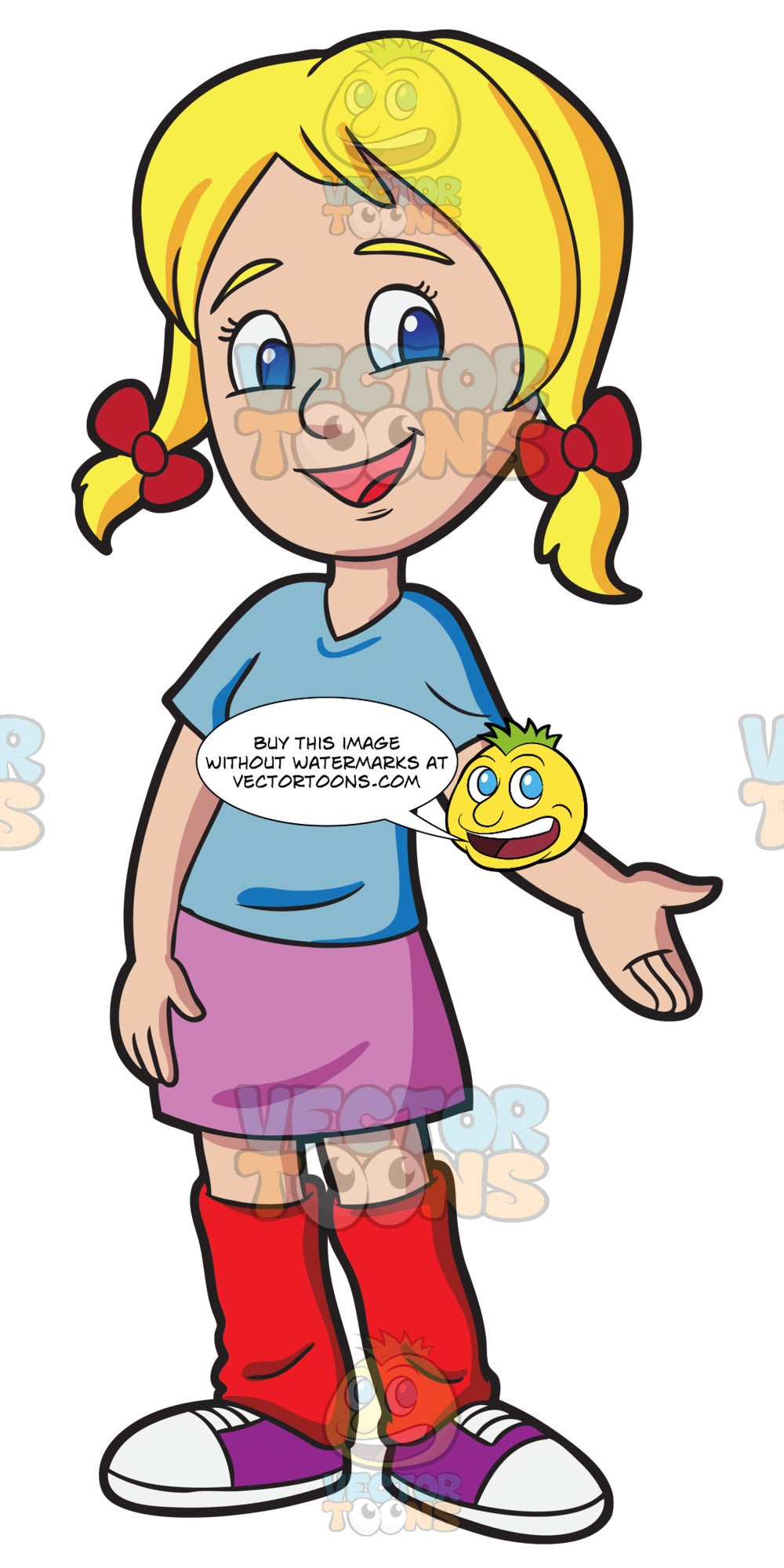A Middle School Girl Looking Friendly And Warm Clipart Cartoons By Vectortoons