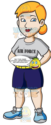 A Female Air Force Trainee Wearing A Physical Training Uniform
