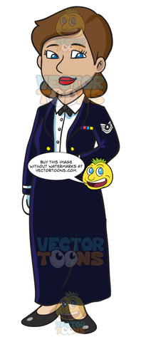 An Enlisted Female Dressed In A Us Air Force Mess Dress Uniform