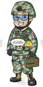 A Us Army Medic Holding A First Aid Kit