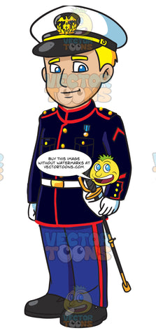 An Enlisted Us Marine Wearing A Blue Dress Uniform