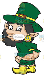 A Very Silly Leprechaun Showing His Butt