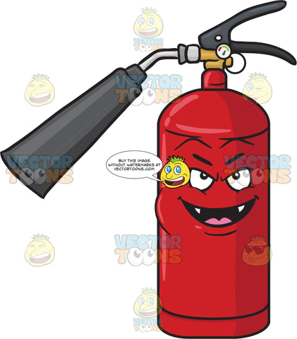 Mischievous Fire Extinguisher Smiling With Fangs Emoji
