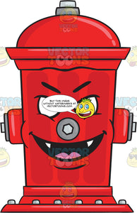 Mischievous Fire Hydrant Smiling With Fangs Emoji