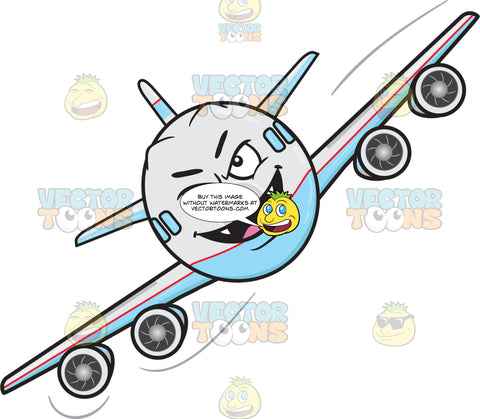 Mischievous Look On Flying Jumbo Jet Plane With Fangs Emoji