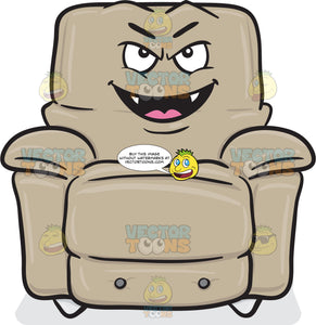 Mischievous Looking Stuffed Chair Smiling With Fangs Emoji
