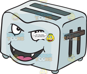 Mischievous Pop Up Toaster Smiling With Fangs Emoji