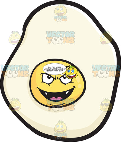 Mischievous Sunny Side Up Egg Smiling With Fangs Emoji