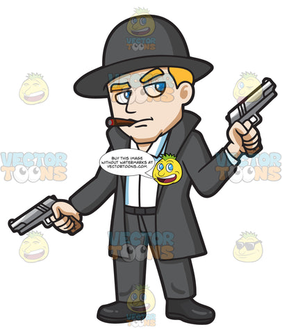 A Mobster Holding Hand Guns In Both Hands