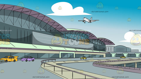 Modern Airport Departure Terminal Background