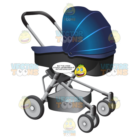 A Two Tone Infant Stroller With An Extra Compartment Underneath