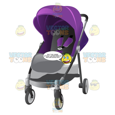 Baby Buggy With A Violet Colored Sun Shade And Seatbelt