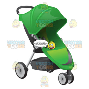 A Green Baby Buggy With Green Foldable Shade And Seat