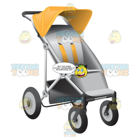 A Two Tone Portable Baby Stroller In Gray And Yellow