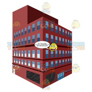 Red Brick City Building With Windows, Several Storeys Drawn In Two Point Linear Perscpetive Depth