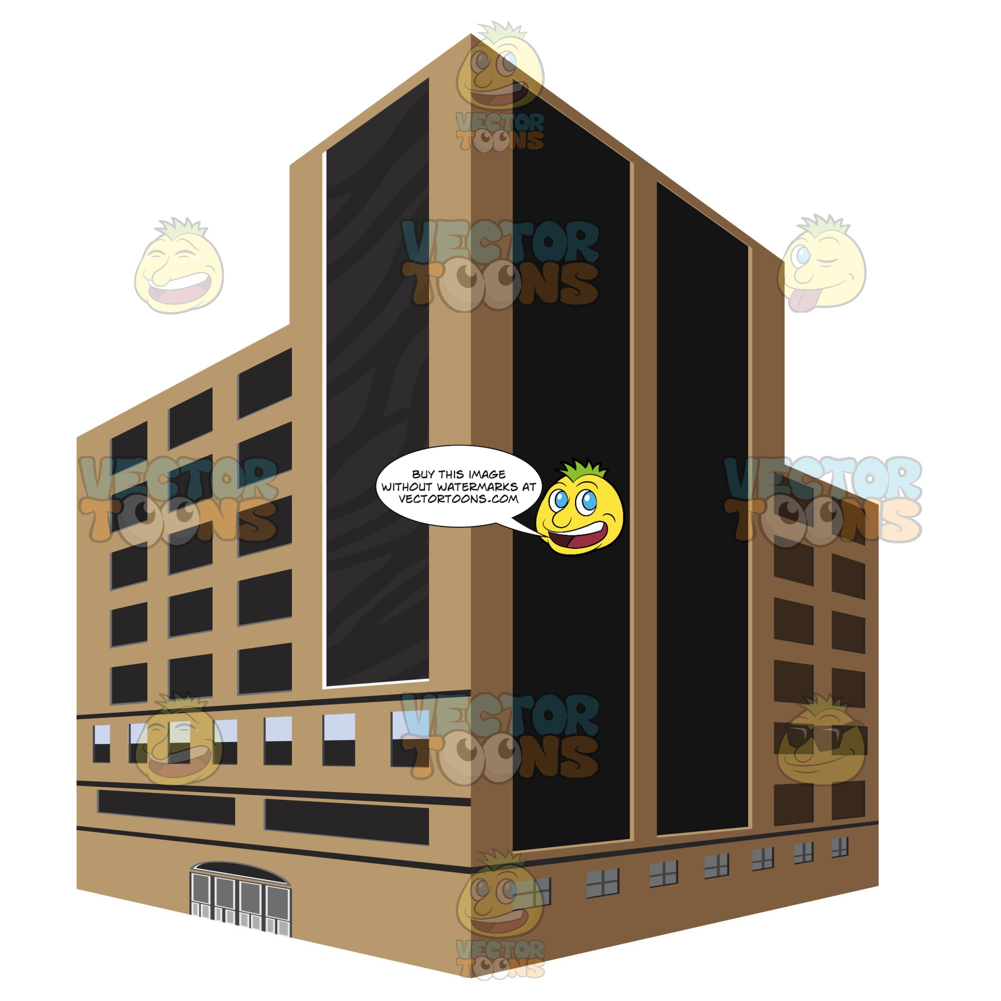 Brown, Tall Dark Glass City Building With Corner Angle Two Dimension Depth Drawing