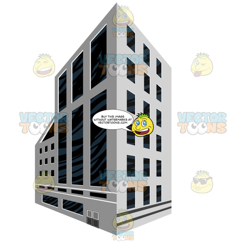 Light Grey, Dark Glass, City Modern Building In Two Point Linear Perscpetive