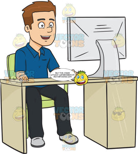 Smiling Man Using A Desktop Computer