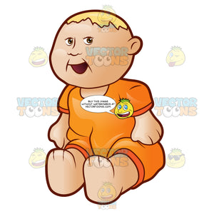 A Blonde Baby Doll In An Orange Outfit