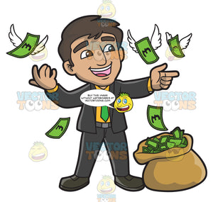 A Man Having Fun With A Bunch Of Money With Wings