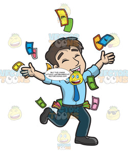 A Man Throwing Money In The Air