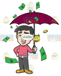 A Chinese Man In The Middle Of A Rainy Money Day