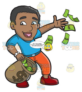 A Black Guy Happily Throws His Money Away