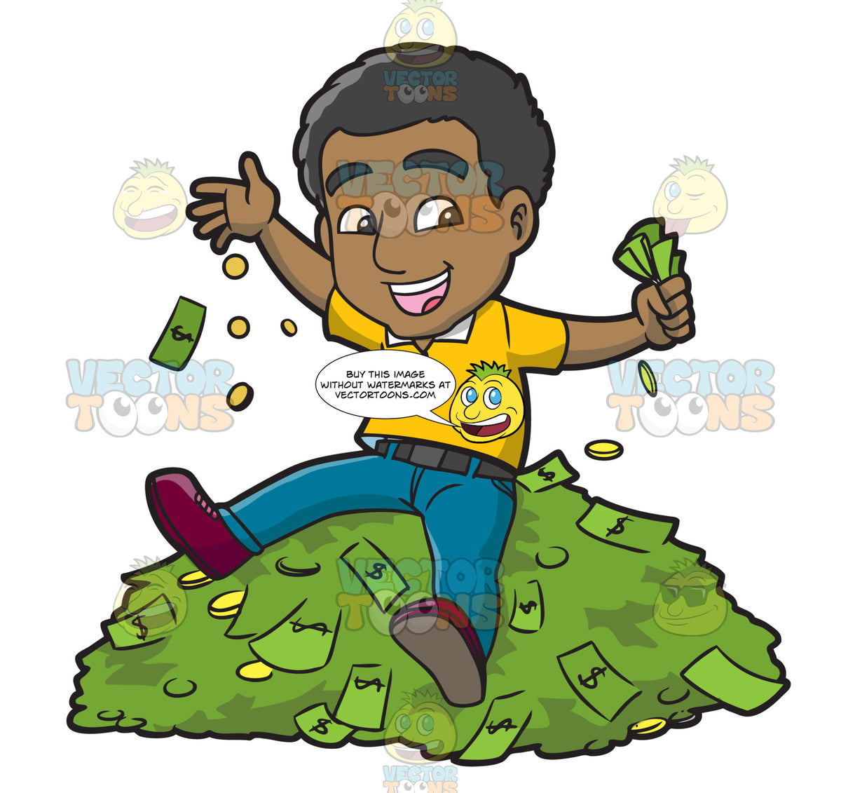 A Black Guy Sitting On Top Of A Pile Of Cash – Clipart ...