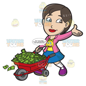 A Happy Woman Transporting Her Money In A Wheel Barrow