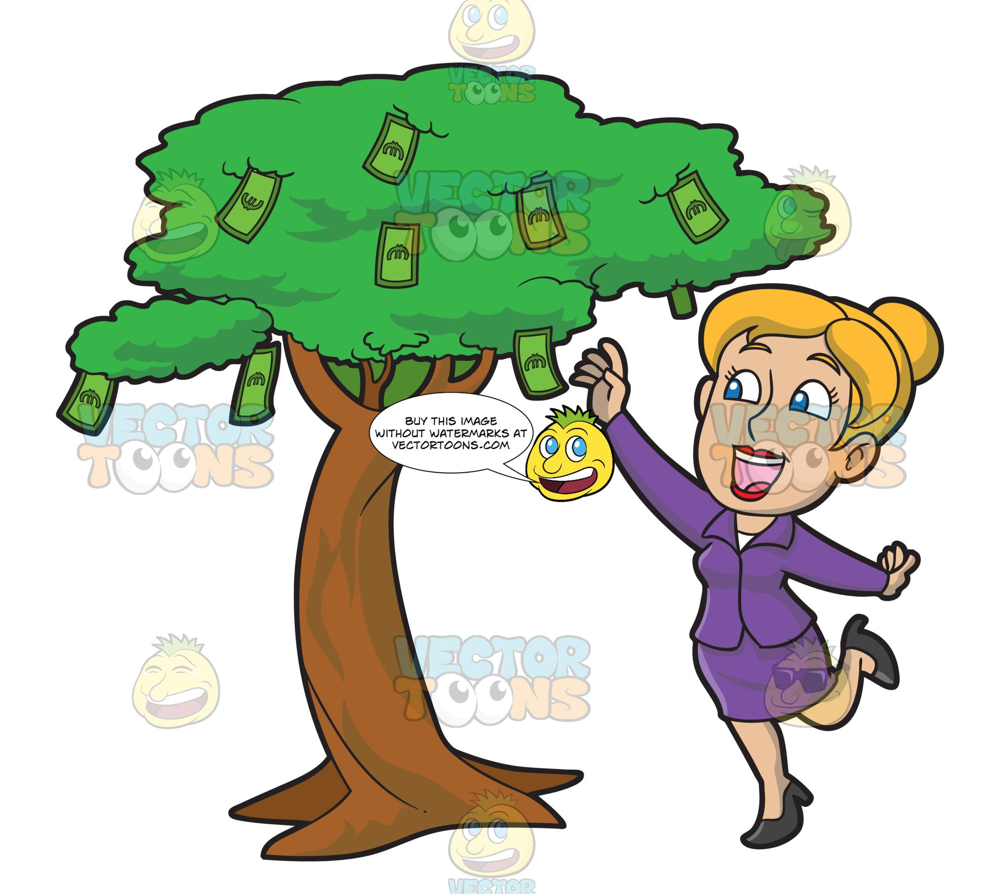 A Woman Happily Picks Money From A Tree
