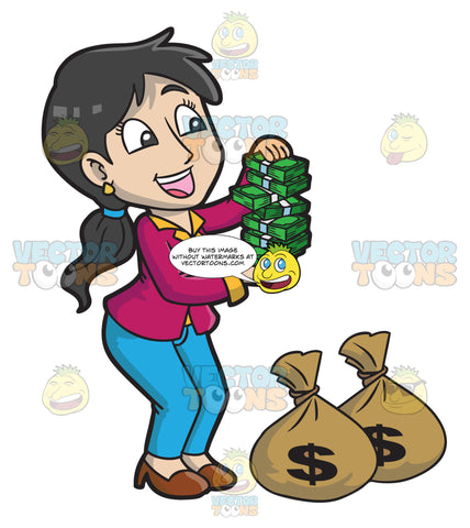 A Woman Delightfully Holding Bundles Of Money