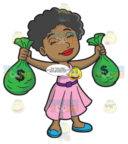 A Black Woman Happily Enjoys Holding The Bags Of Money