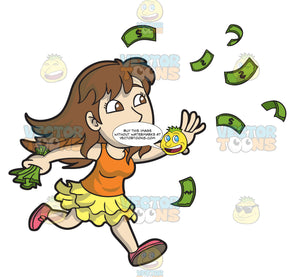 A Happy Young Woman Gathering Some Flying Money