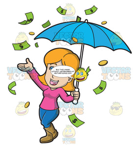 A Happy Woman In The Middle Of A Raining Money Day