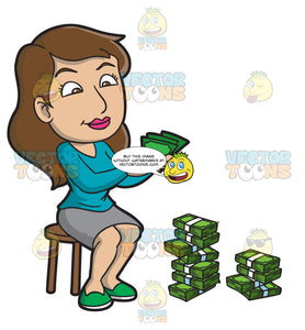 A Woman Counting Her Money