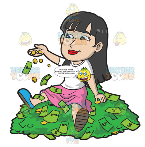 A Woman Sitting On A Pile Of Money