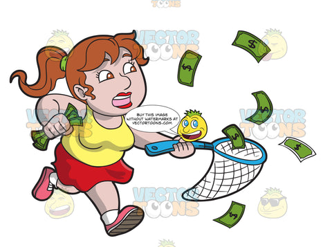 A Chubby Woman Catching And Chasing Some Cash
