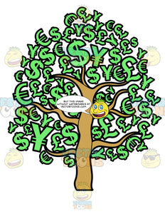 A Money Tree Of Different Currencies