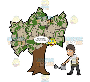 A Man Watering A Money Tree