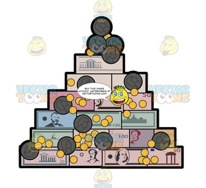 A Pyramid Of World Money And Coins