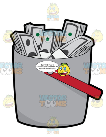 Stacks Of Money Inside A Bucket