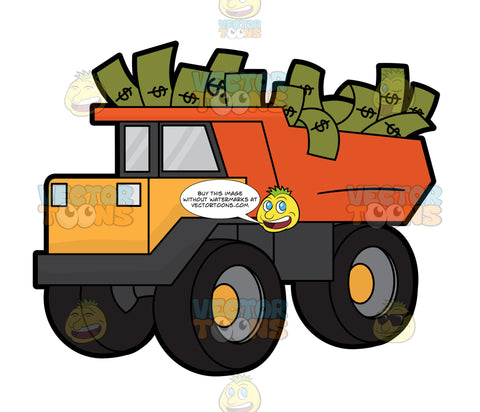 A Toy Truck Carrying Loads Of Dollars