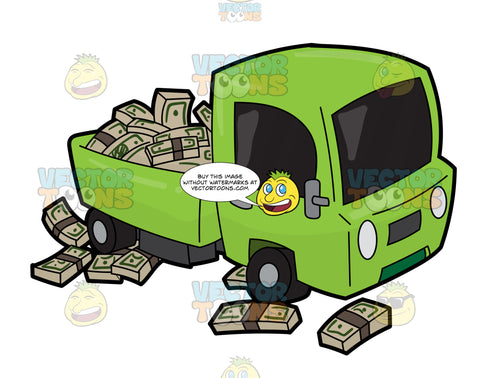 A Cute Truck Filled With A Bunch Of Money