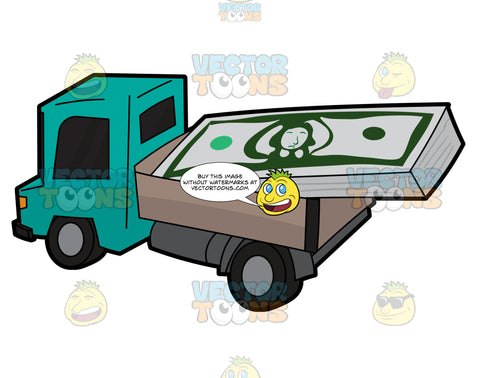 A Cute Toy Truck Transporting A Bunch Of Us Dollars