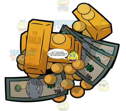 A Pile Of Cash Gold Bars And Gold Coins