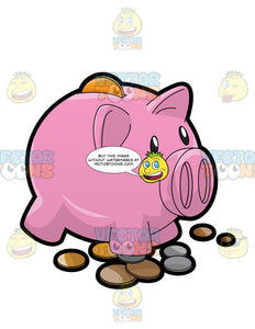 A Piggy Bag Full Of Coins