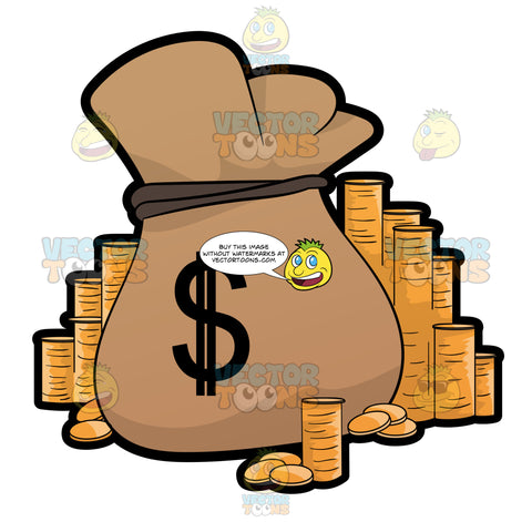 Stacks Of Gold Coins Surround A Burlap Sack Filled With Money