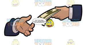 A Hand Of A Businessman Handing Out Money To A Fellow Businessman