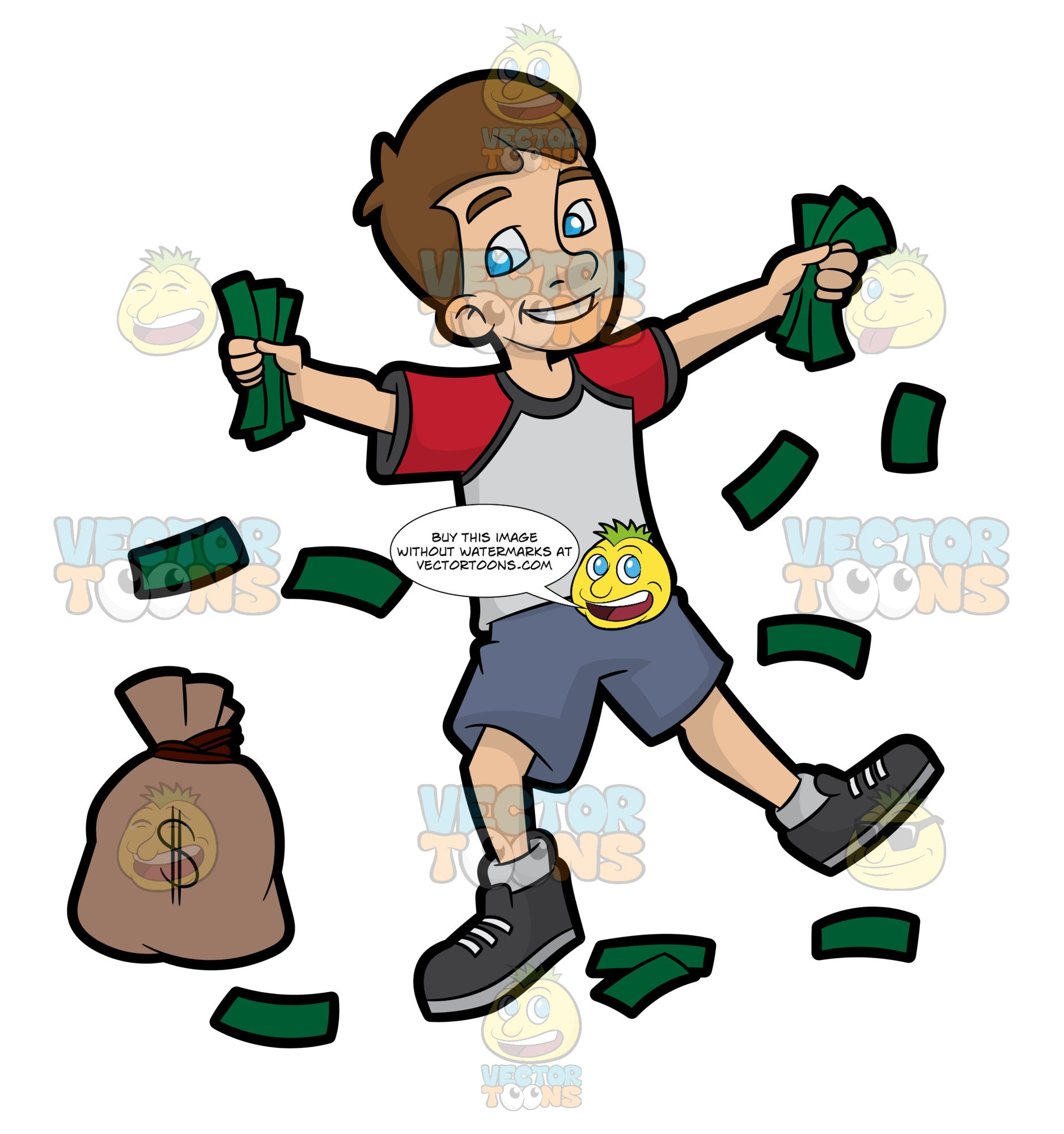 A Happy Young Man Holding Fistfuls Of Cash